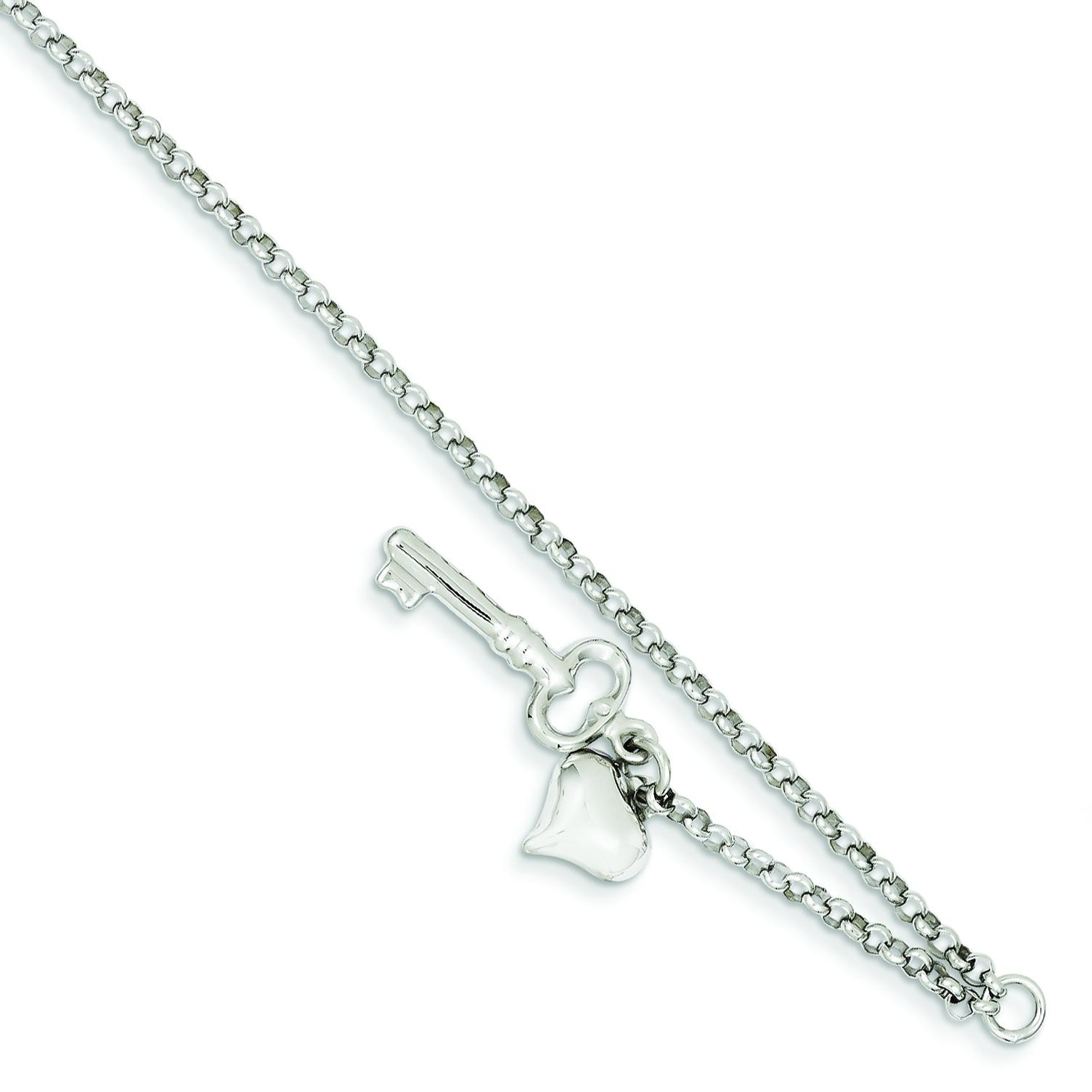 Puffed Heart Key Anklet in 14k White Gold