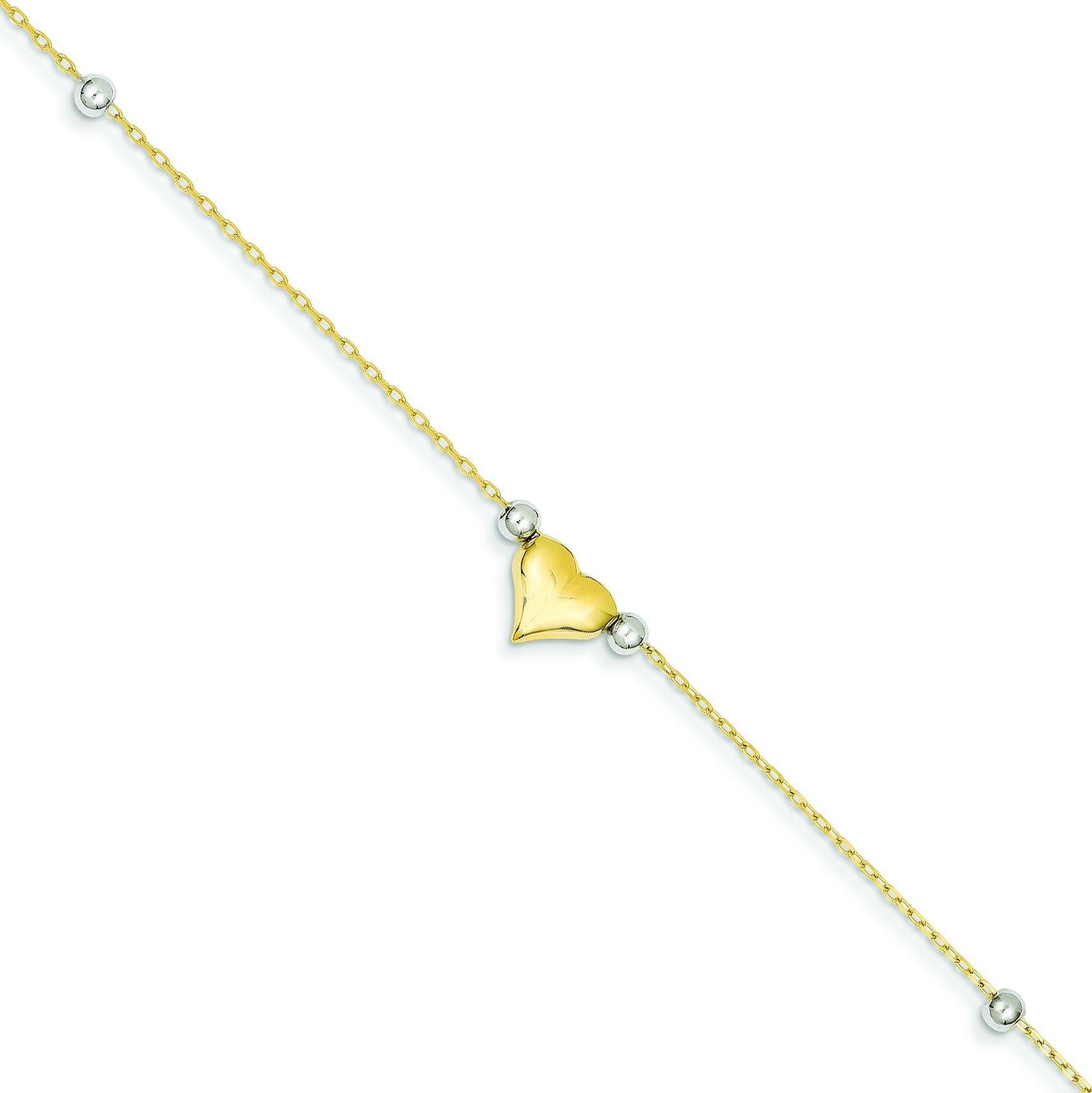 Puffed Heart Beads Anklet in 14k Two-tone Gold