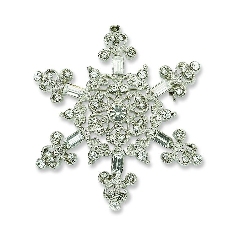 Crystal Snowflake Pin in Silver Plated