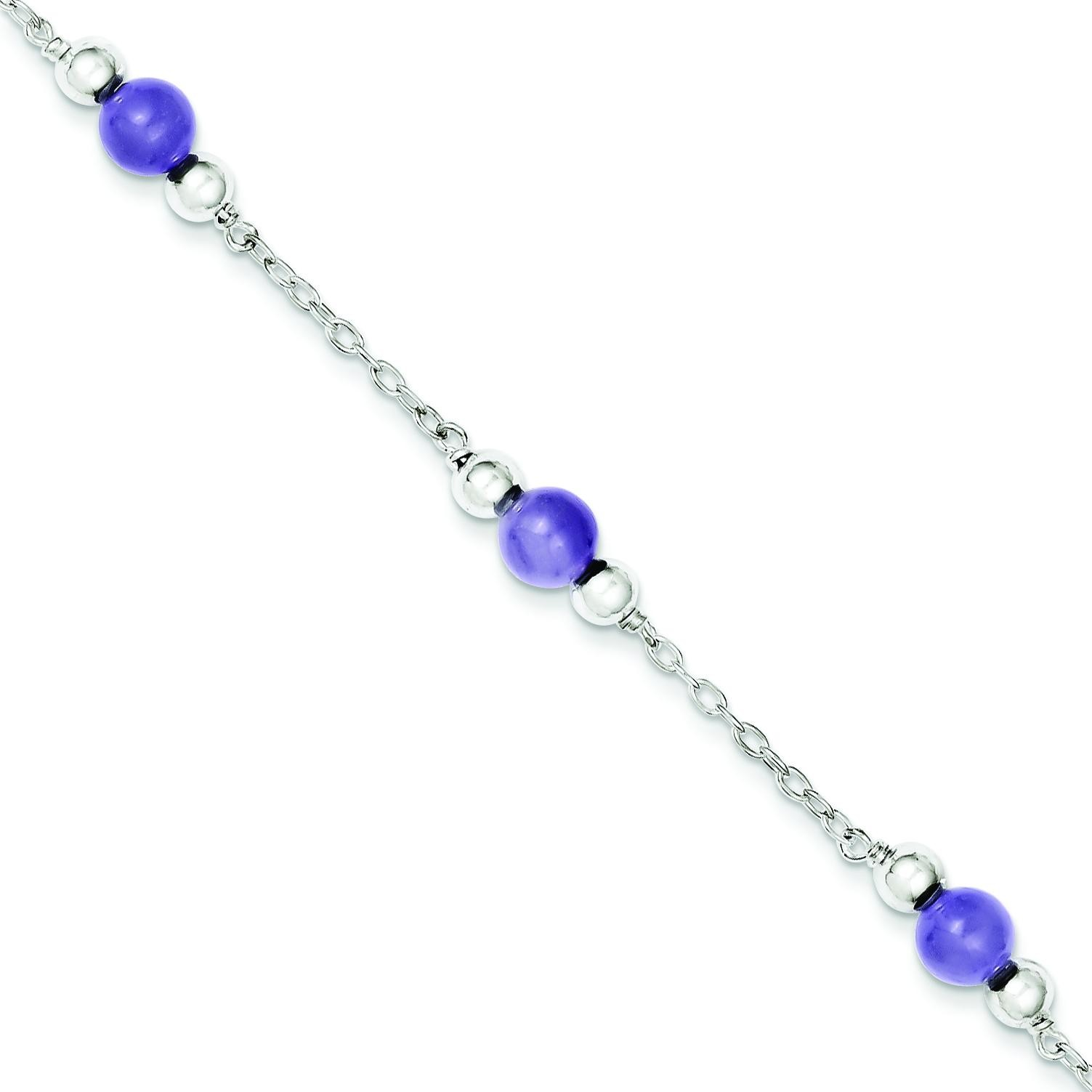 Lavender Jade Anklet in Sterling Silver