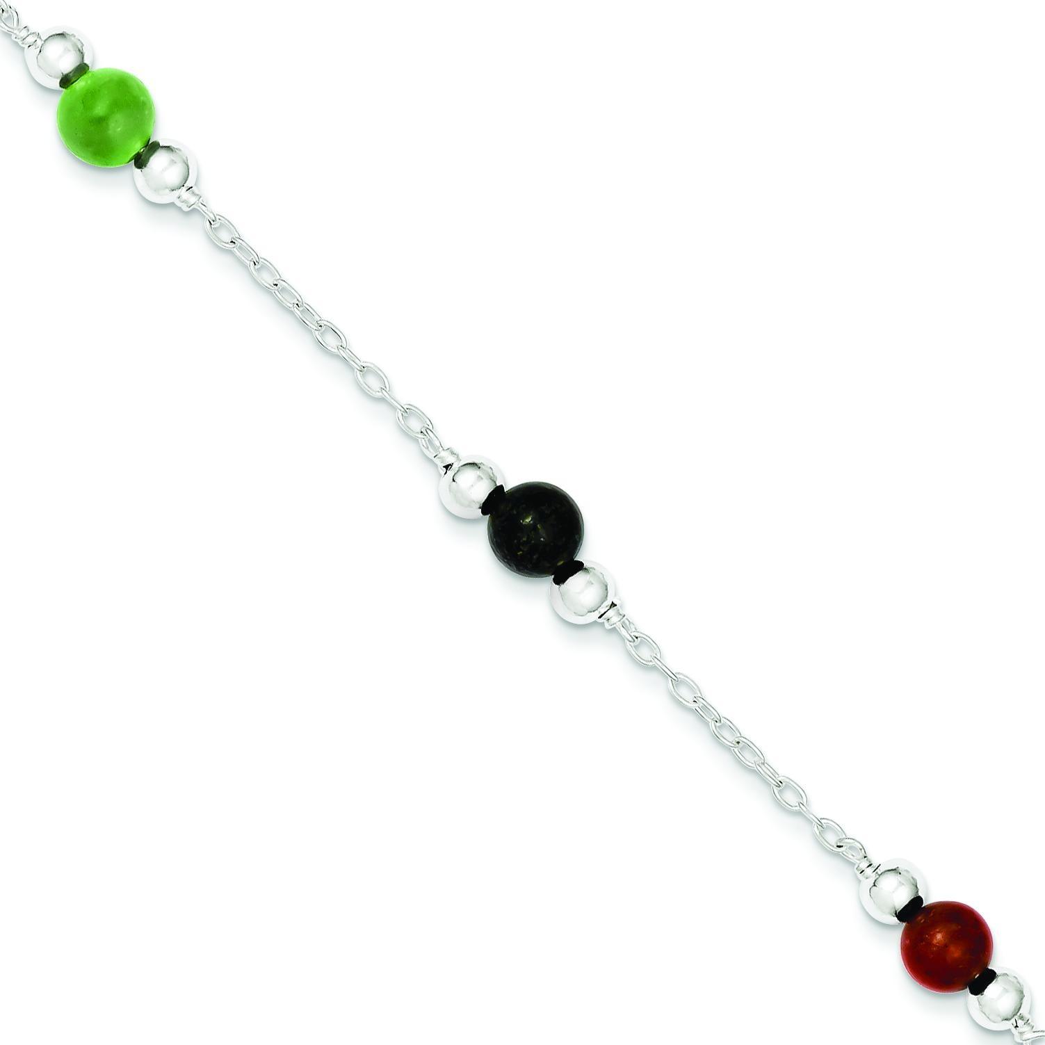 Multi-Color Jade Anklet in Sterling Silver