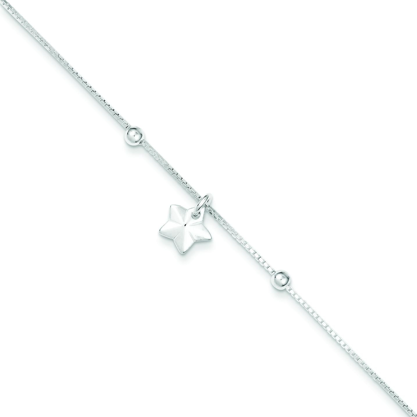 Box Chain Star Anklet in Sterling Silver