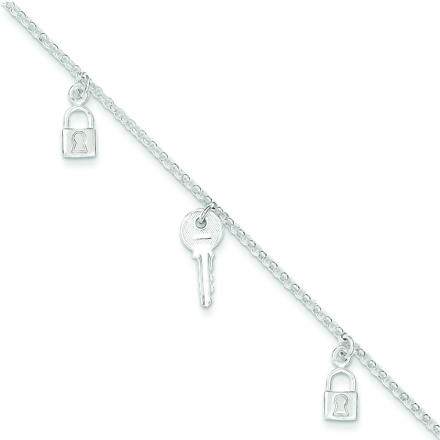 Lock Key Anklet in Sterling Silver