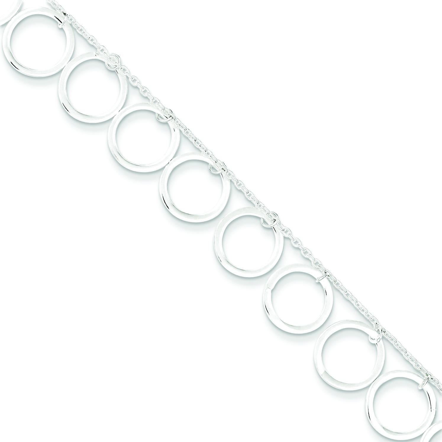Dangle Circles Anklet in Sterling Silver