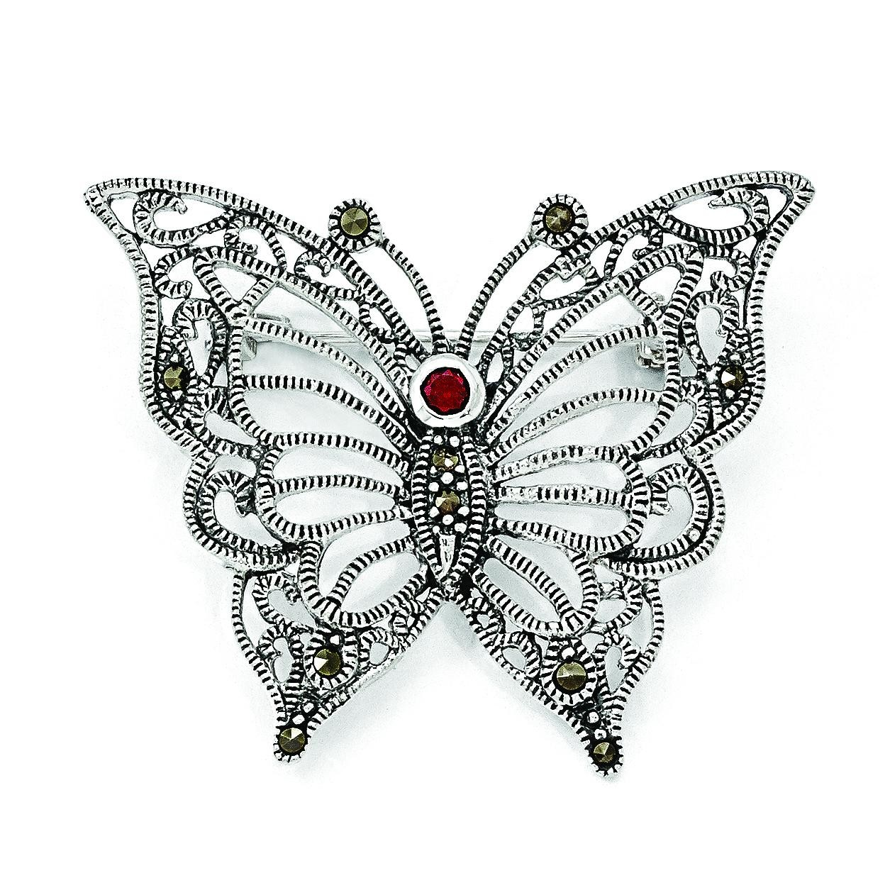 Marcasite CZ Butterfly Pin in Sterling Silver