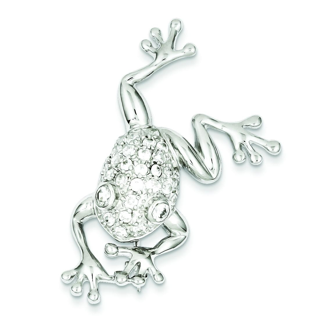 CZ Frog Pin in Sterling Silver