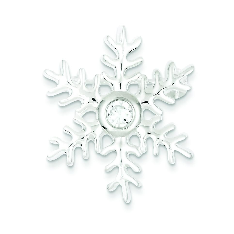CZ Snowflake Pin Pendant in Sterling Silver
