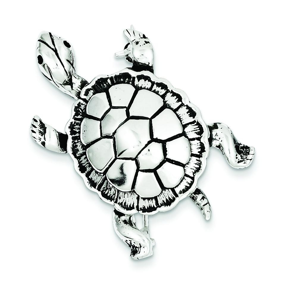 Antiqued Turtle Pin in Sterling Silver