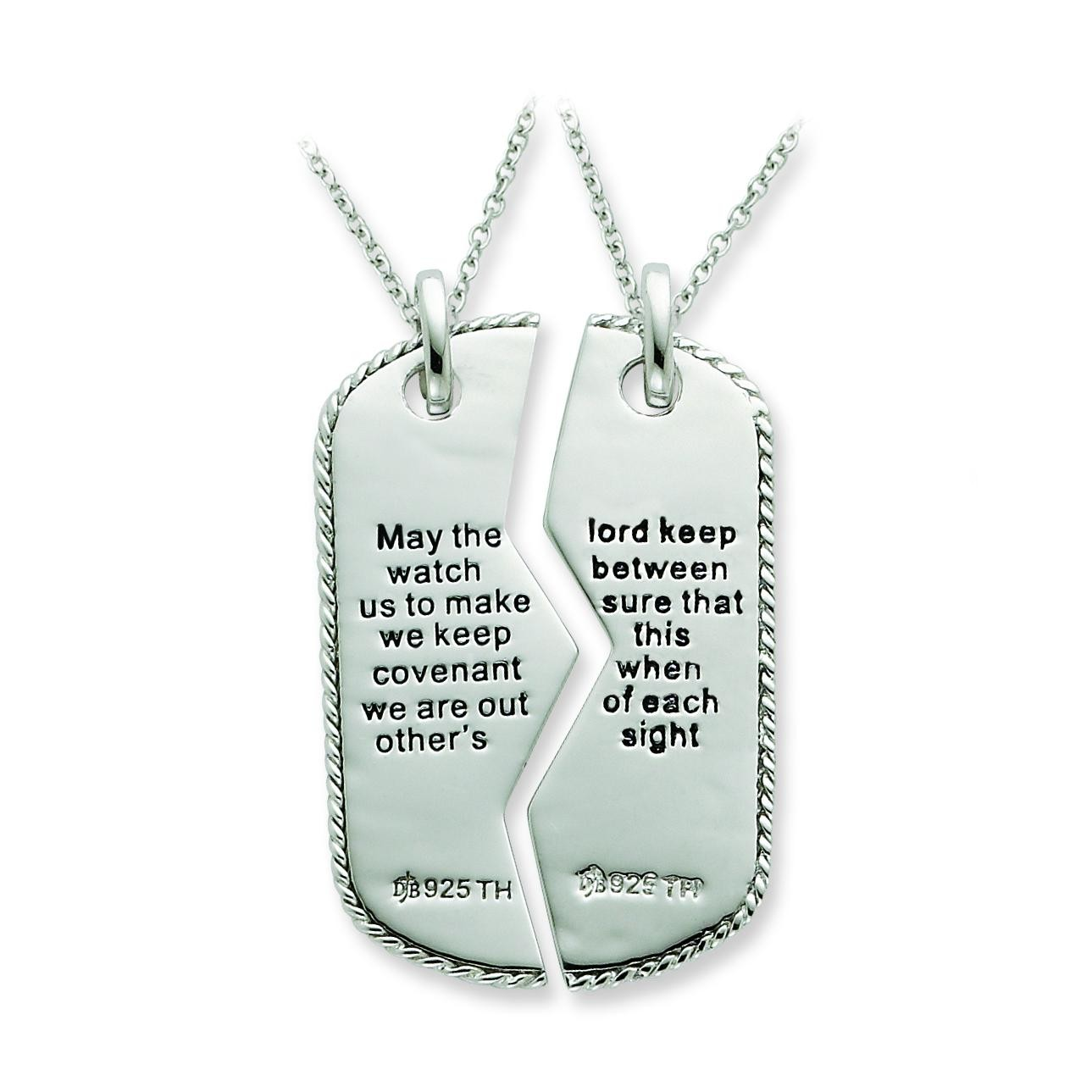 Military Dog Tag For Two Necklaces in Sterling Silver
