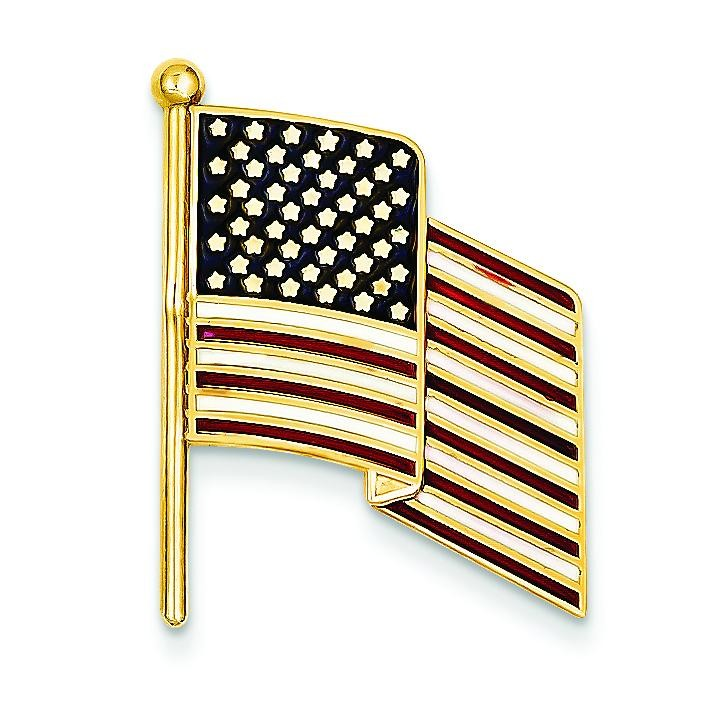 Enameled Flag Pin Charm in 14k Yellow Gold