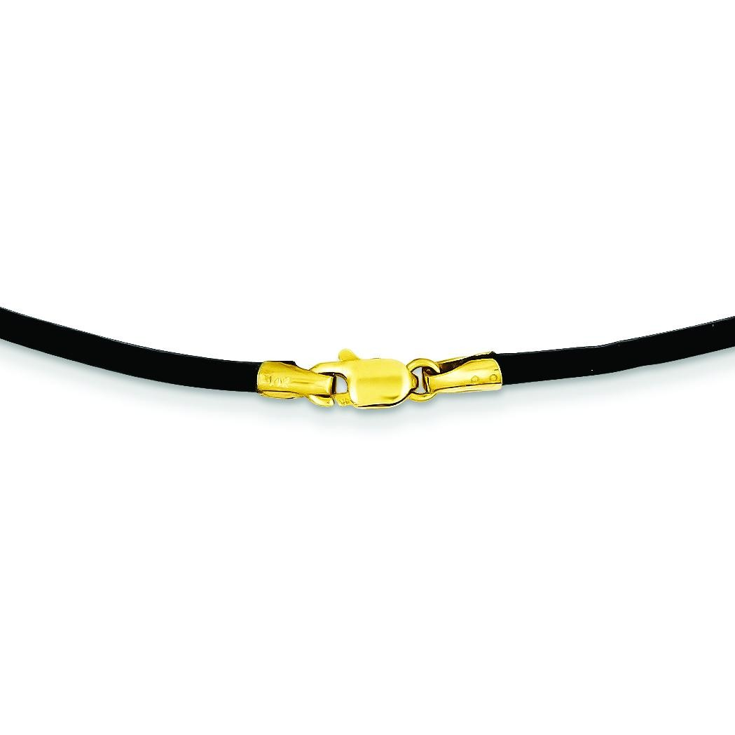 2mm 16 inch Black Leather Cord in 14k Yellow Gold