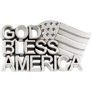 God Bless America Lapel Pin in Sterling Silver