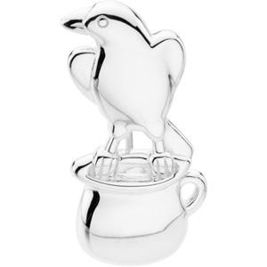 Crow And The Pitcher Brooch in Sterling Silver