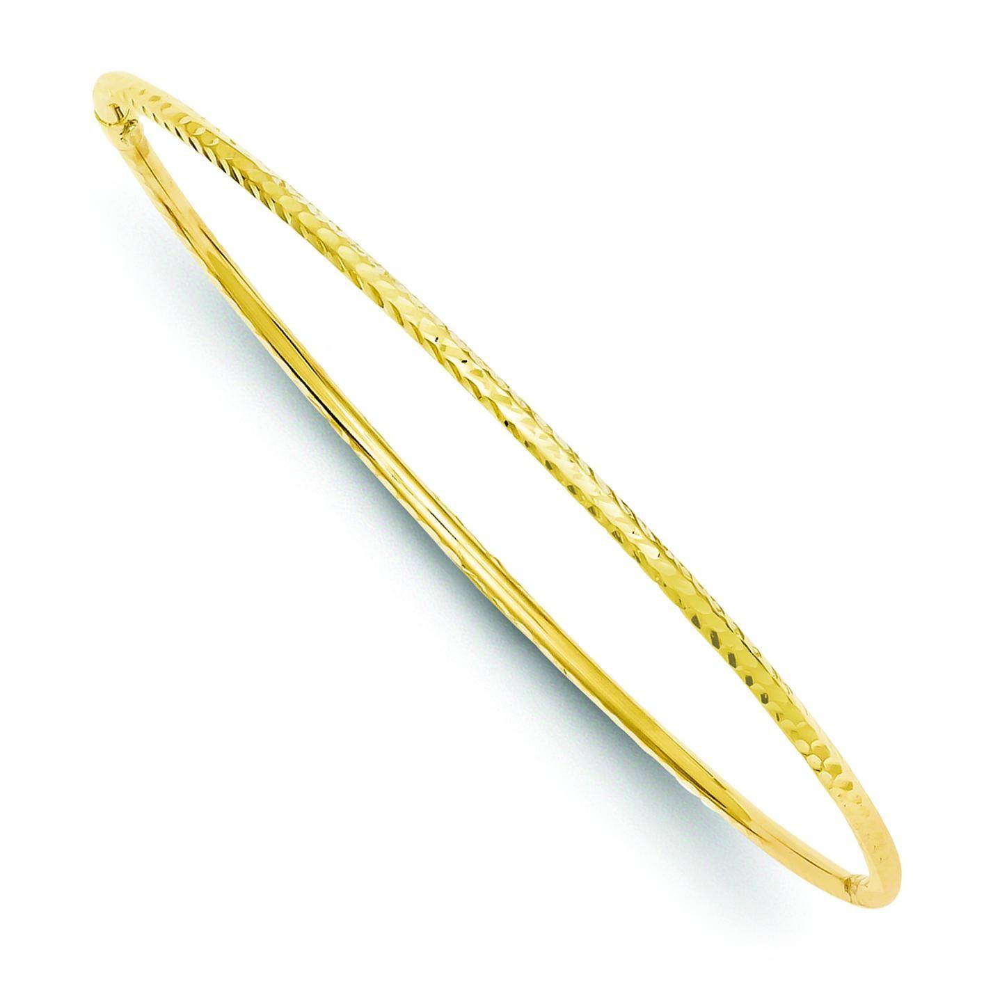Diamond Cut Tube Slip On Bangle in 14k Yellow Gold
