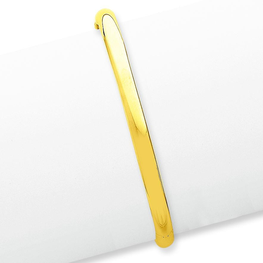 High Hinged Bangle Bracelet in 14k Yellow Gold