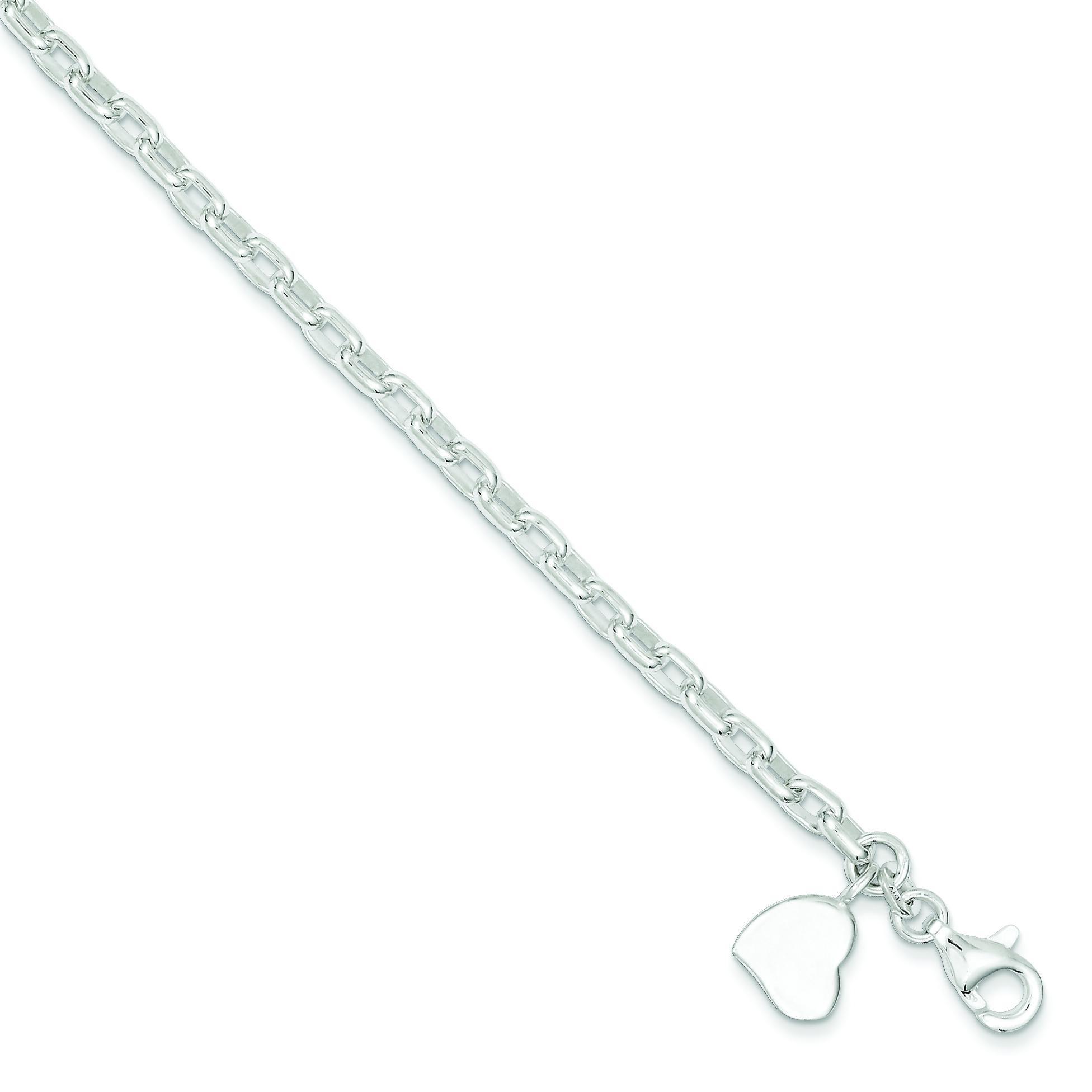 Oval Rolo Solid Heart Bracelet in Sterling Silver