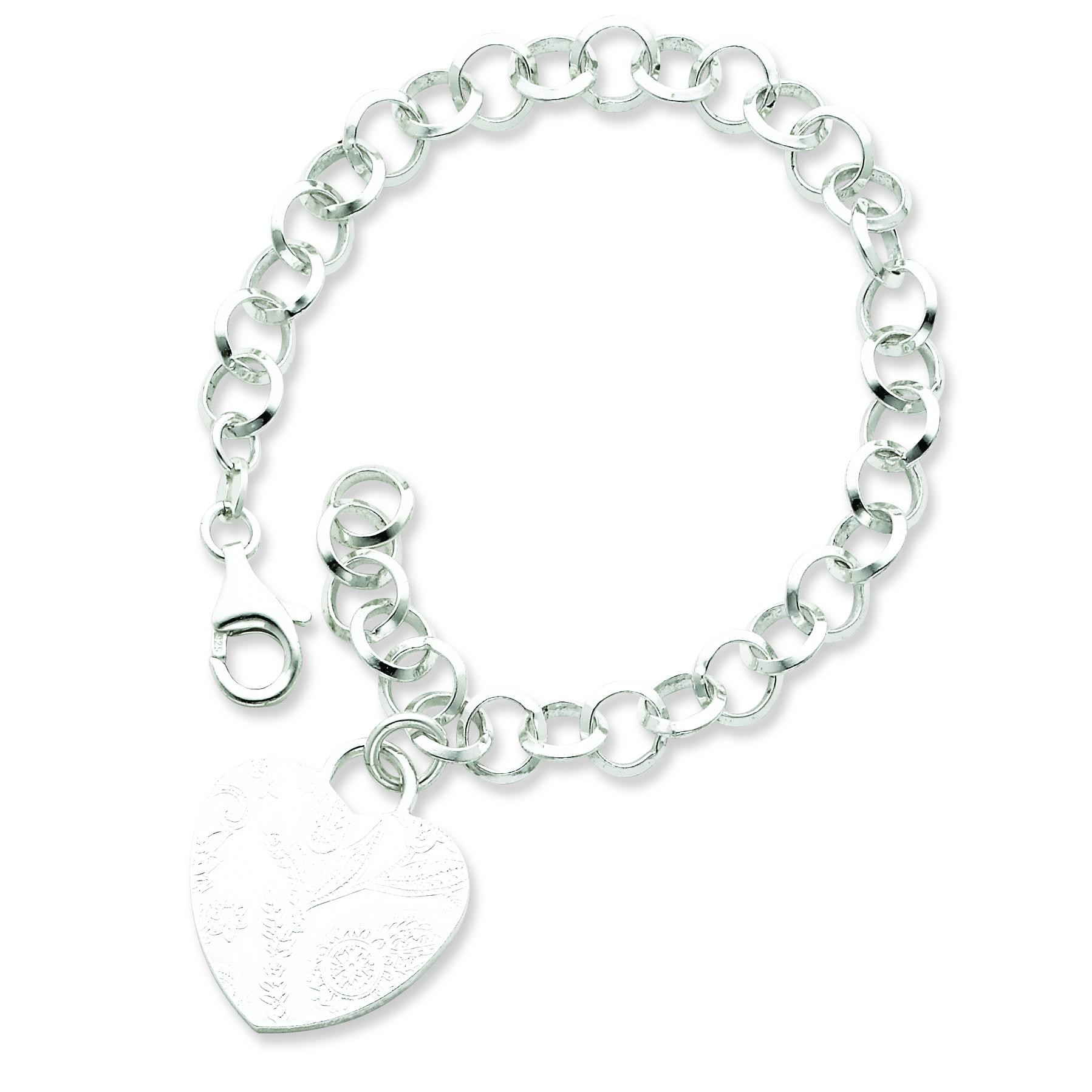 Heart Dangle Bracelet in Sterling Silver