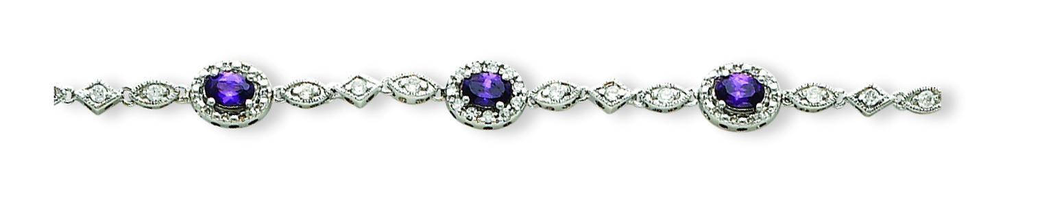 Purlple Clear CZ Bracelet in Sterling Silver