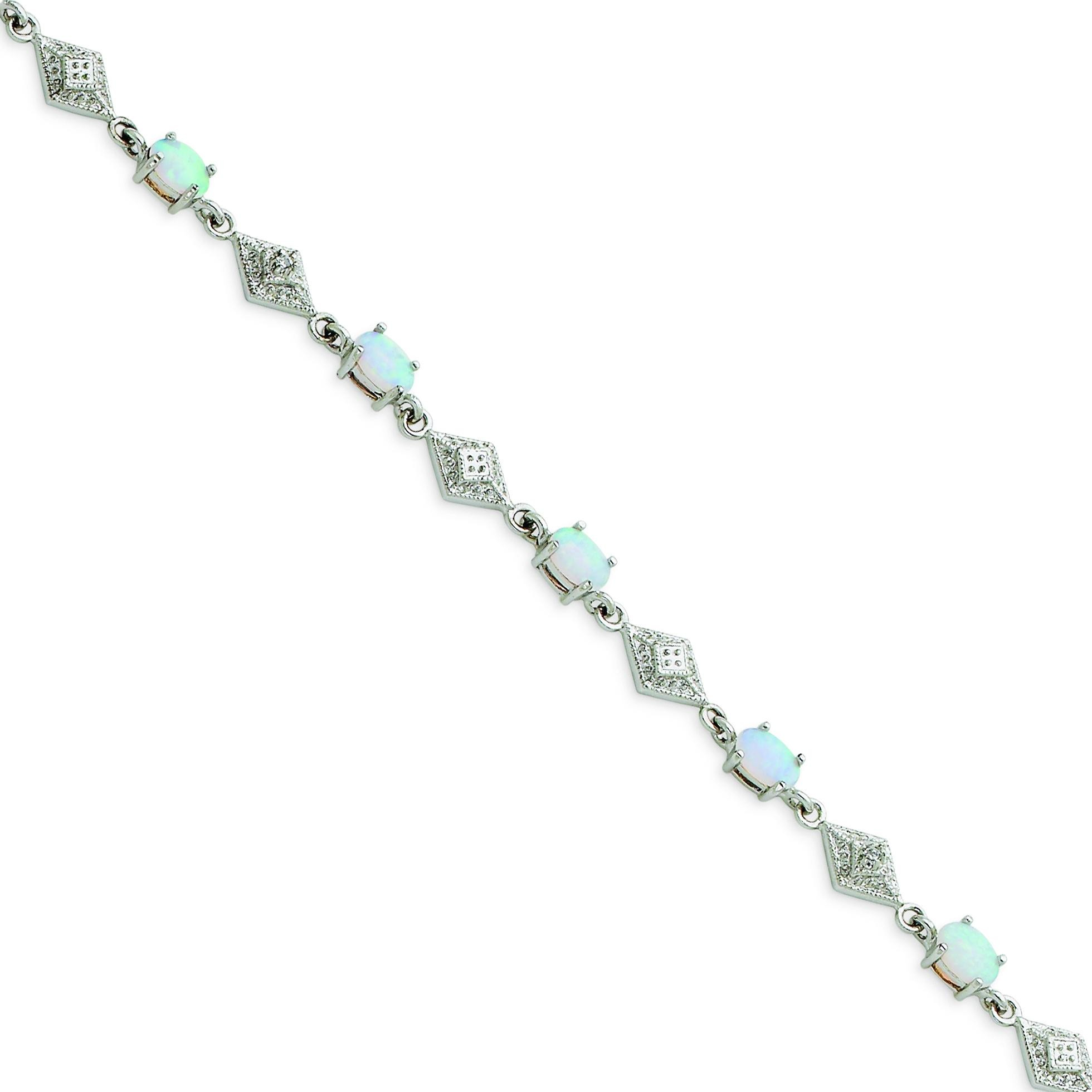 White Opal Bracelet in Sterling Silver