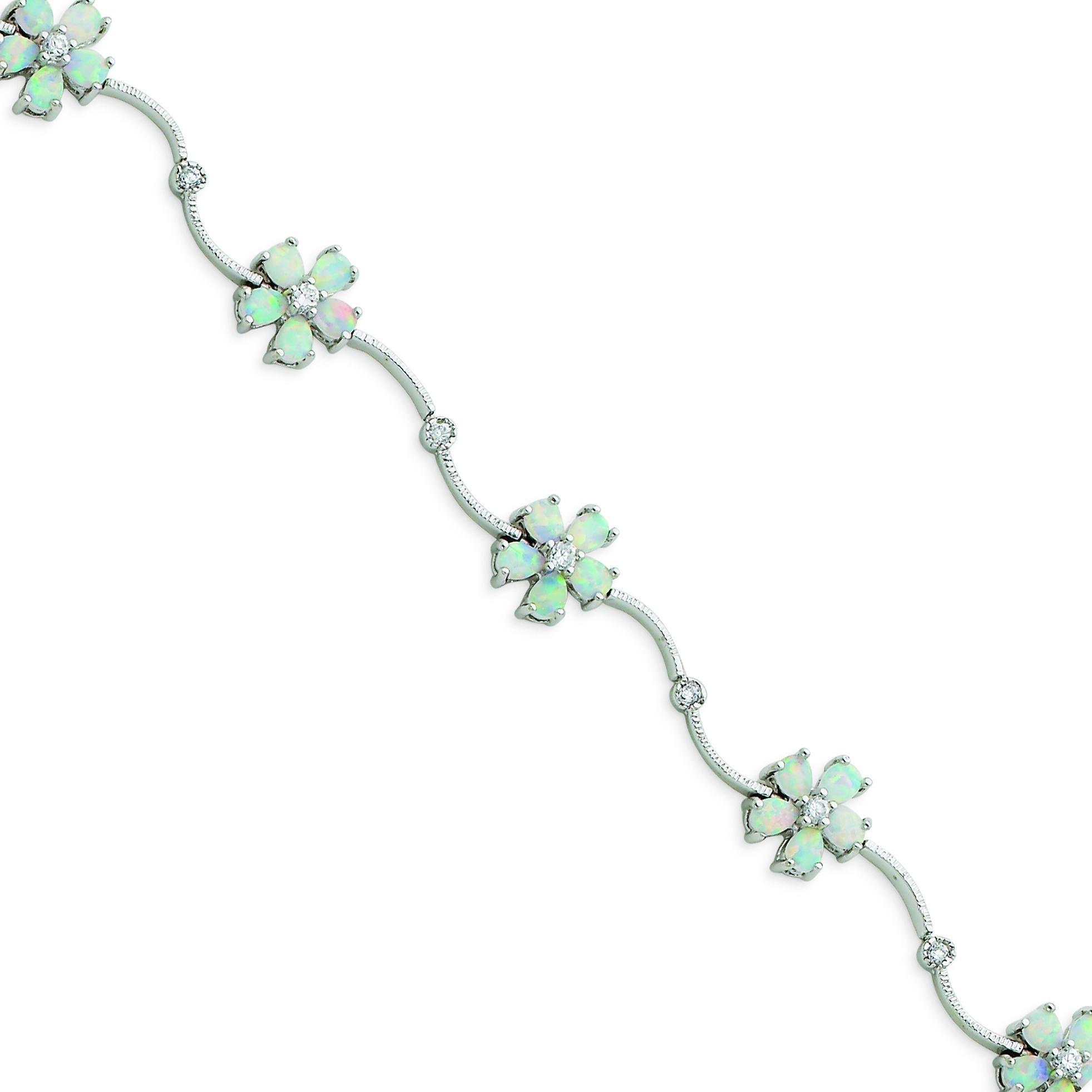 7inch Opal Flower Bracelet in Sterling Silver