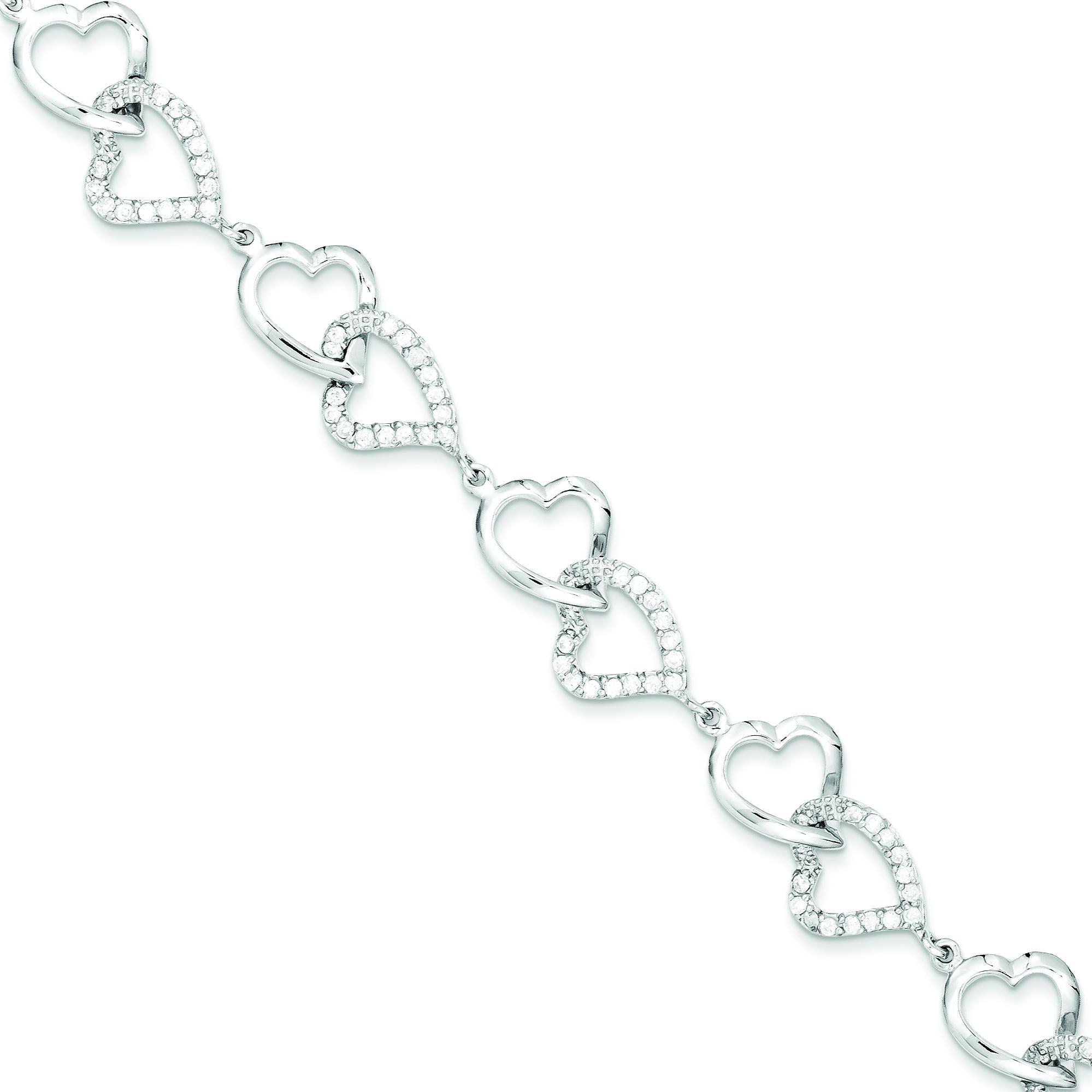 CZ Heart Bracelet in Sterling Silver