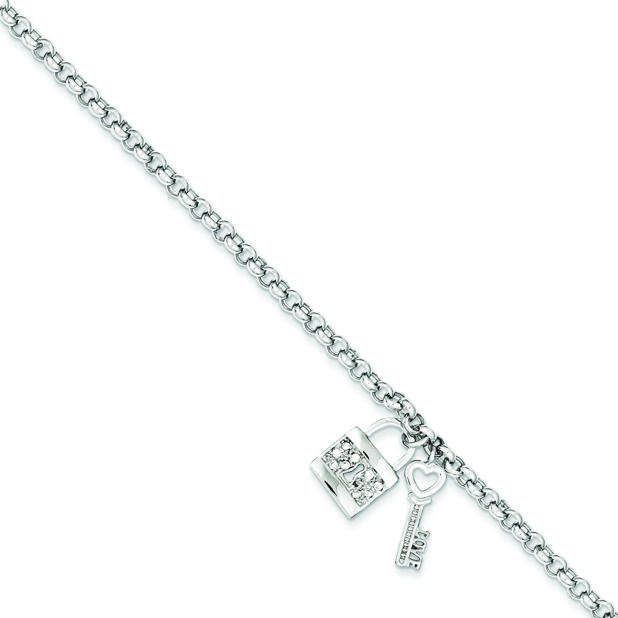 CZ Lock Key Rolo Bracelet in Sterling Silver