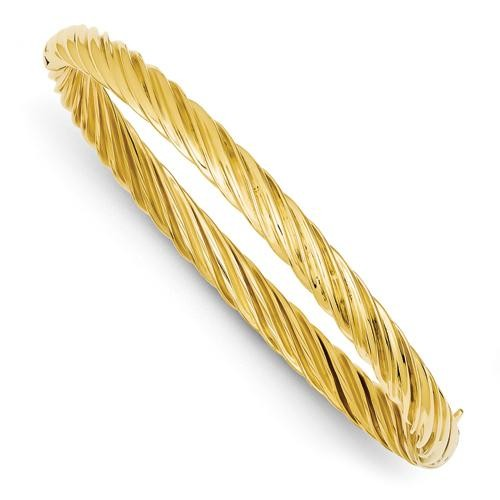 Fancy Swirl Hinged Bangle Bracelet in 14k Yellow Gold