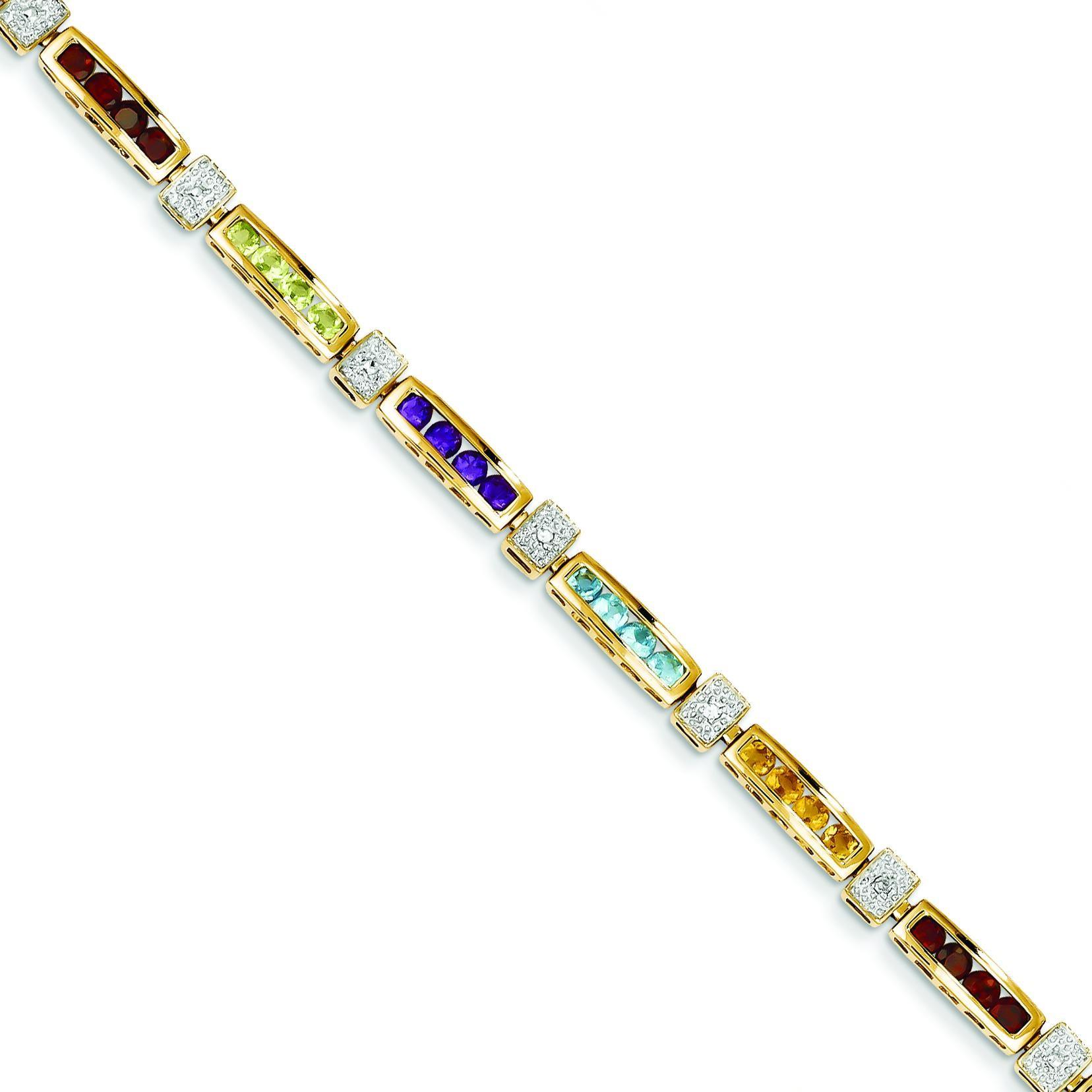 Fancy Genuine Diamond Gemstone Rainbow in 14k Yellow Gold