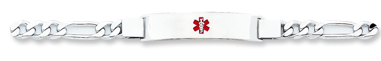 Medical ID Figaro Link Bracelet in Sterling Silver