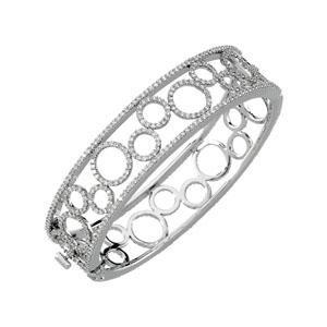 Diamond Bangle Bracelet in 14k White Gold (6.875 Ct. tw.) (6.875 Ct. tw.)