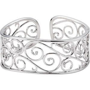 Diamond Bangle Bracelet in Sterling Silver (0.25 Ct. tw.) (0.25 Ct. tw.)