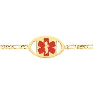 Figaro Medical ID Bracelet in 14k Yellow Gold