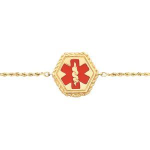 Medical ID Bracelet in 14k Yellow Gold