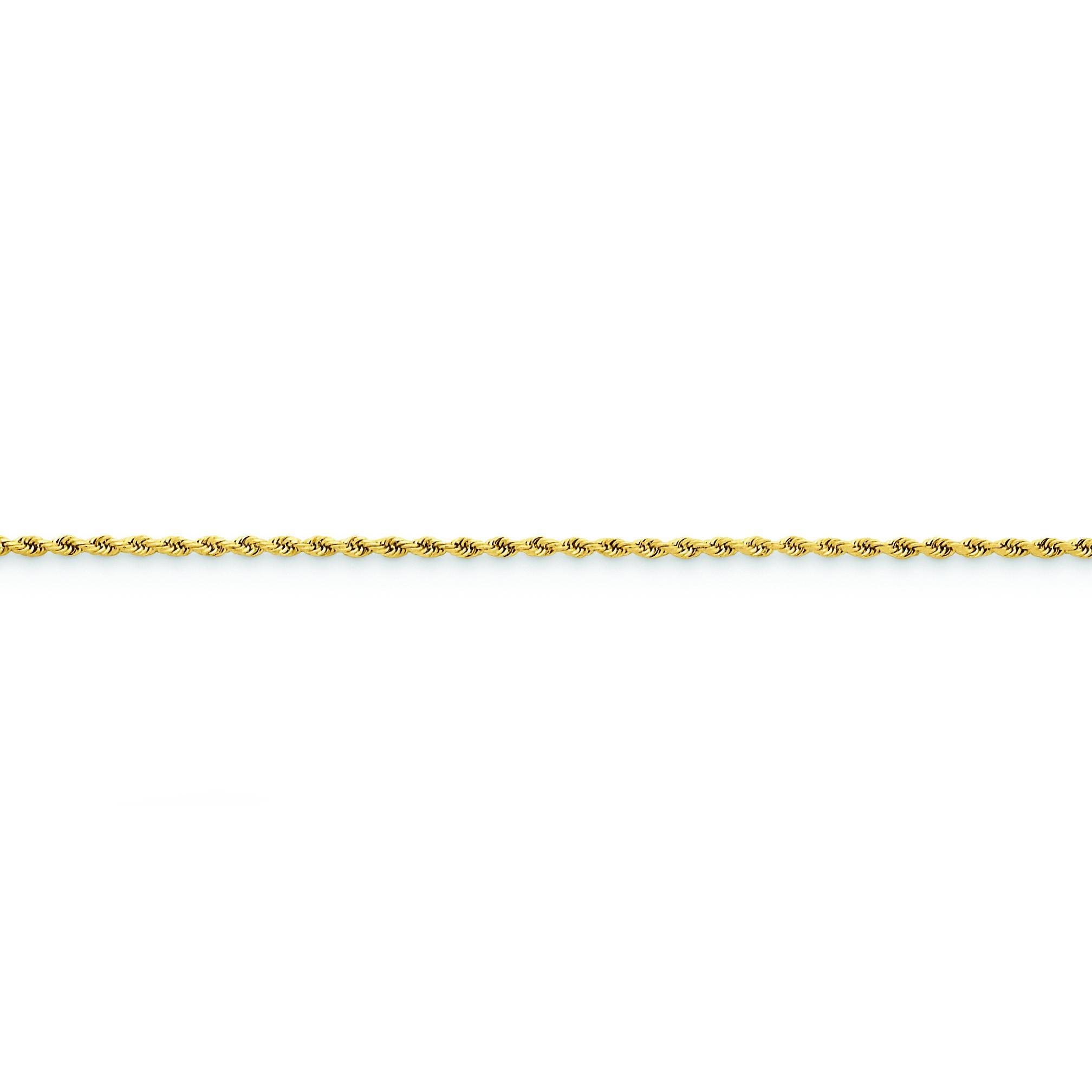 14k Yellow Gold 6 inch 1.75 mm Handmade Diamond-cut Rope Chain Bracelet