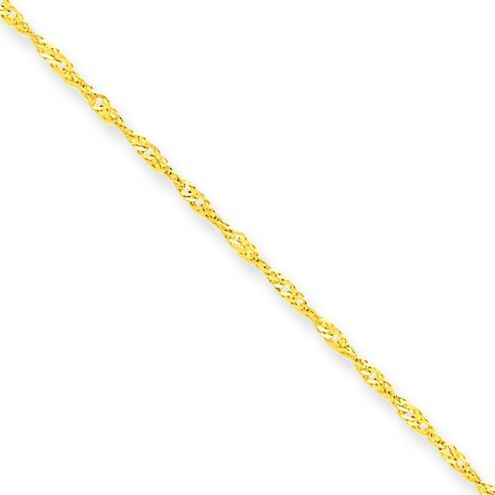10k Yellow Gold 9 inch 1.10 mm  Singapore Ankle Bracelet
