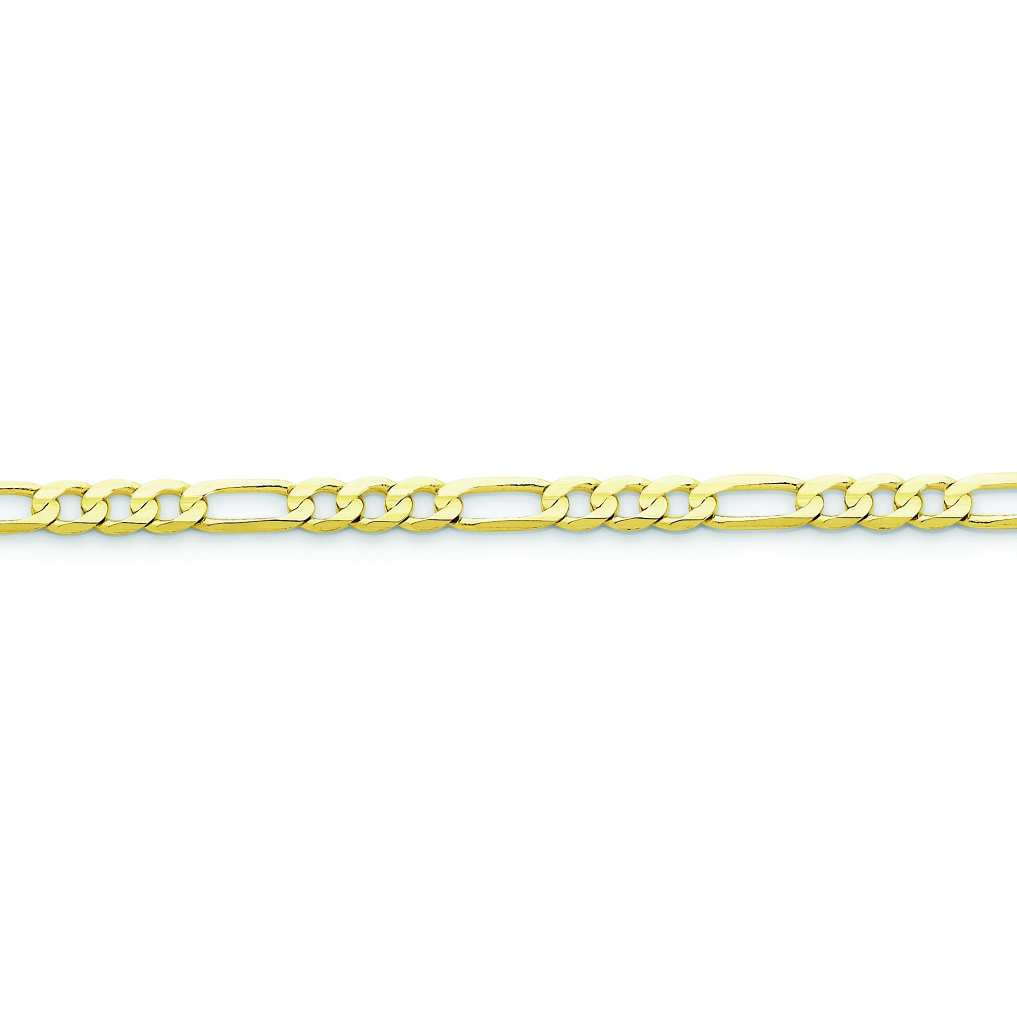 10k Yellow Gold 8 inch 4.50 mm Light Figaro Chain Bracelet