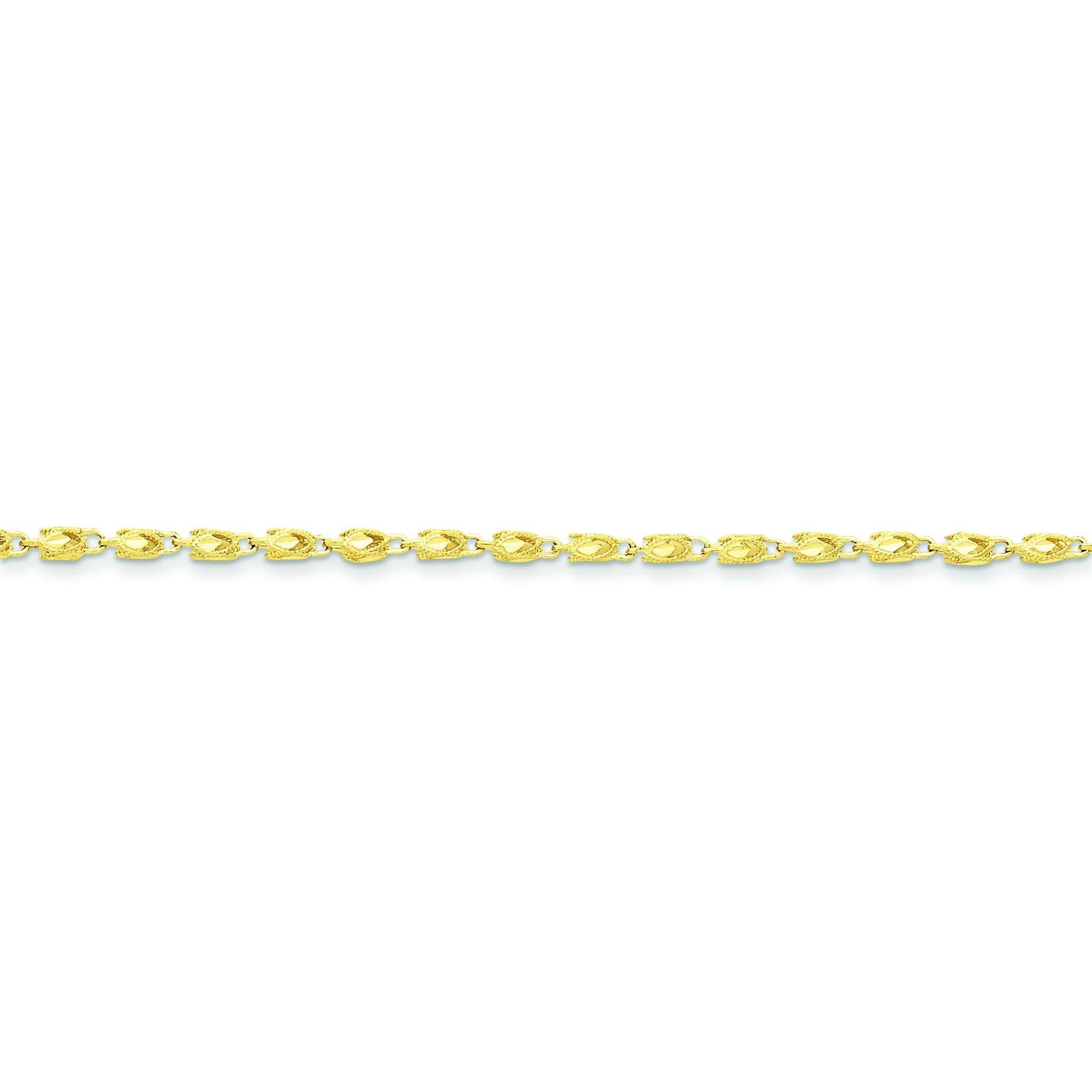 10k Yellow Gold 8 inch 3.00 mm Marquise Fancy Chain Bracelet