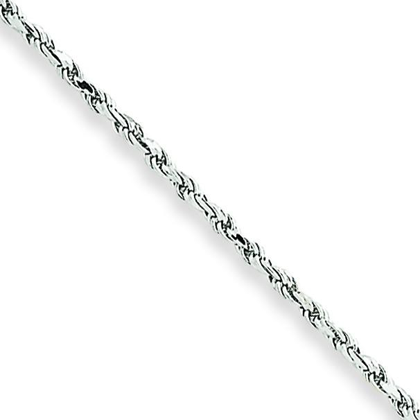 10k White Gold 8 inch 1.50 mm Machine Made Rope Chain Bracelet