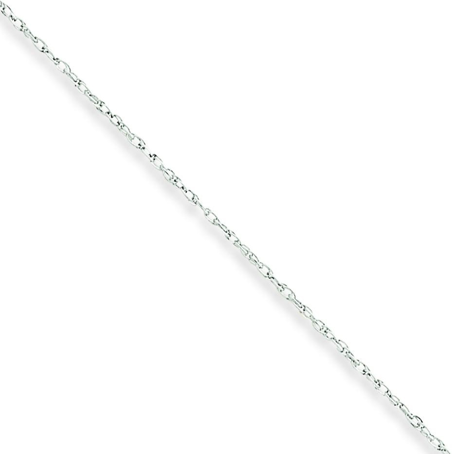 10k White Gold 16 inch 0.80 mm Rope Choker Necklace