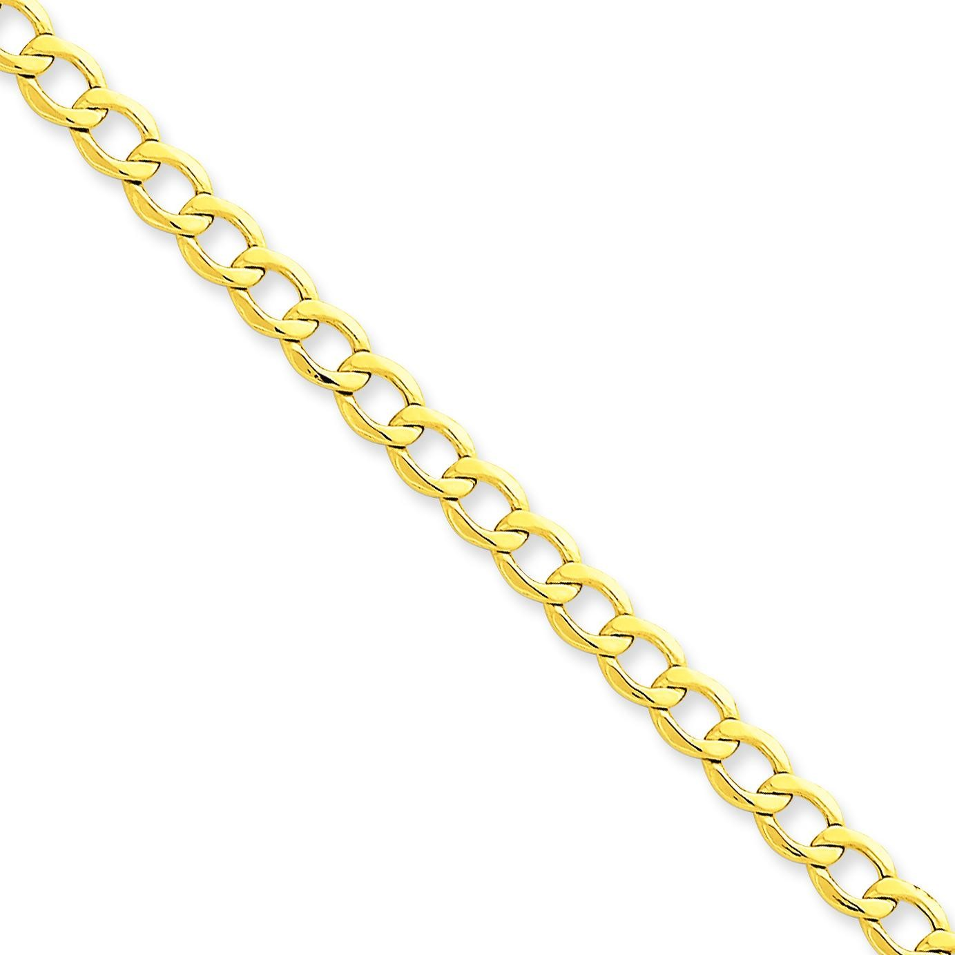 14k Yellow Gold 7 inch 5.25 mm Light Curb Chain Bracelet