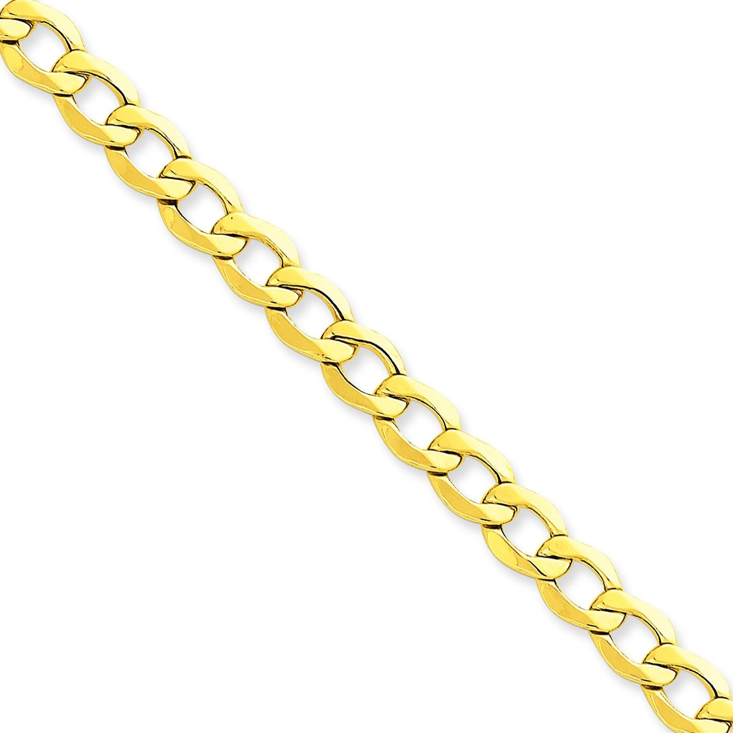14k Yellow Gold 7 inch 7.00 mm Light Curb Chain Bracelet