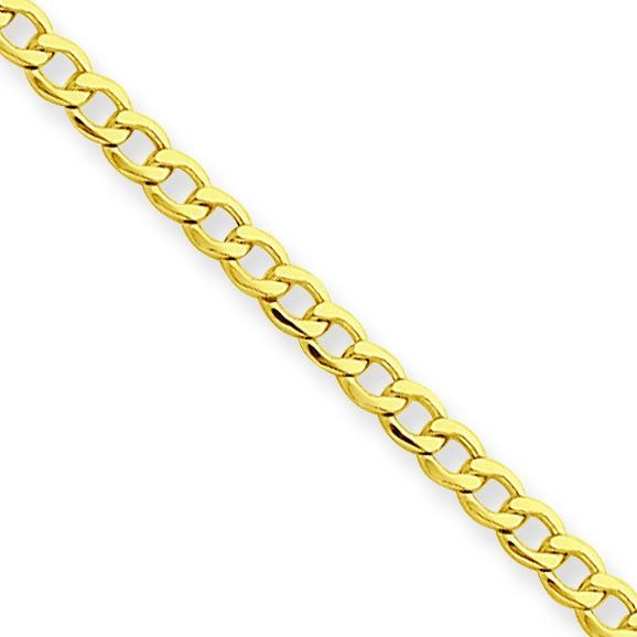 14k Yellow Gold 10 inch 2.50 mm Light Curb Ankle Bracelet