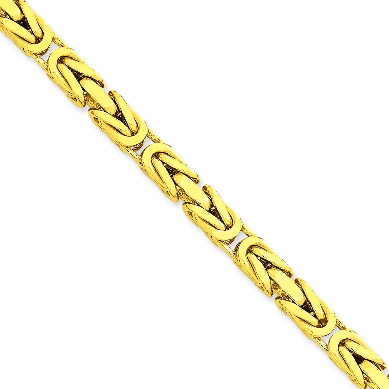 14k Yellow Gold 8 inch 5.25 mm Byzantine Chain Bracelet