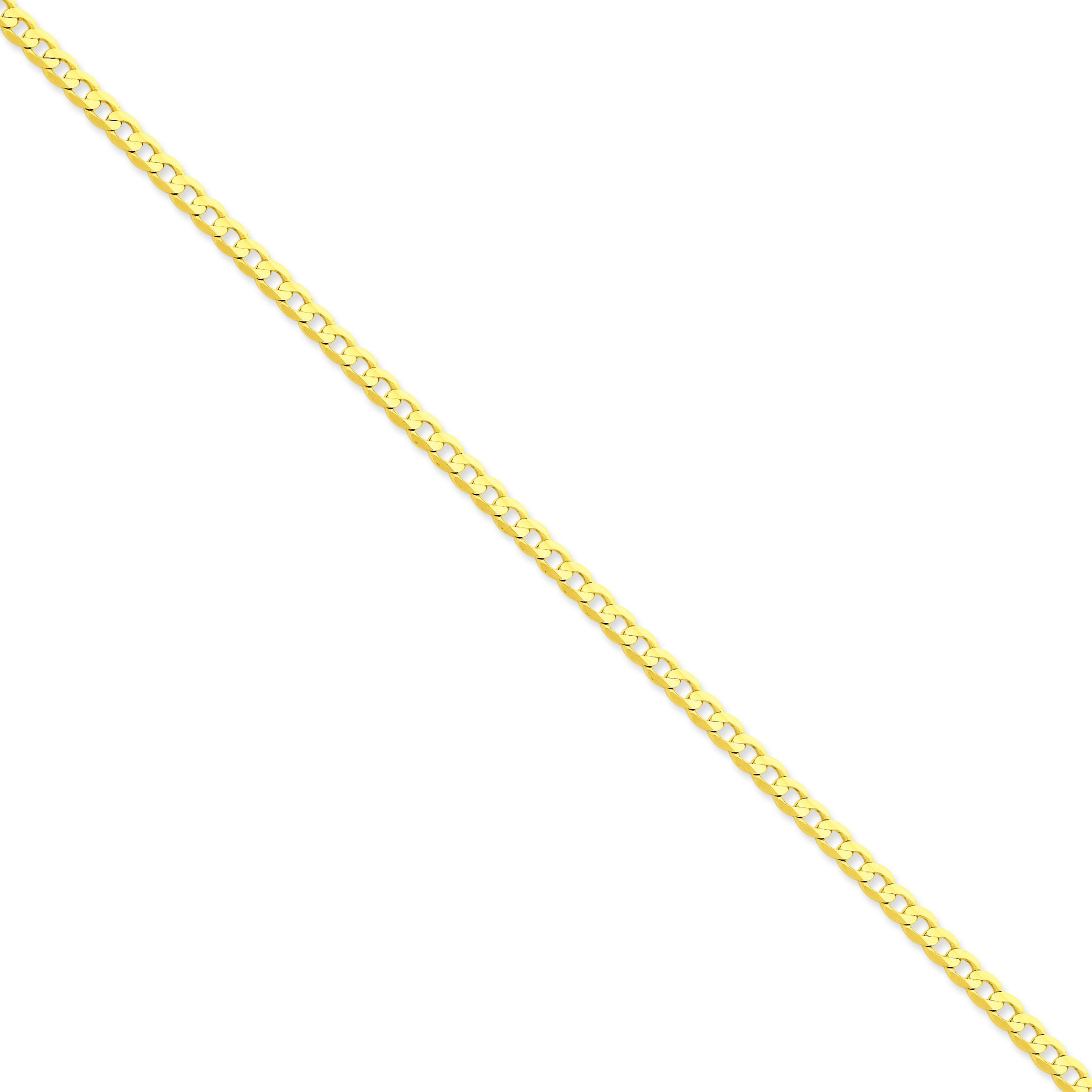 14k Yellow Gold 7 inch 3.80 mm Open Concave Curb Chain Bracelet