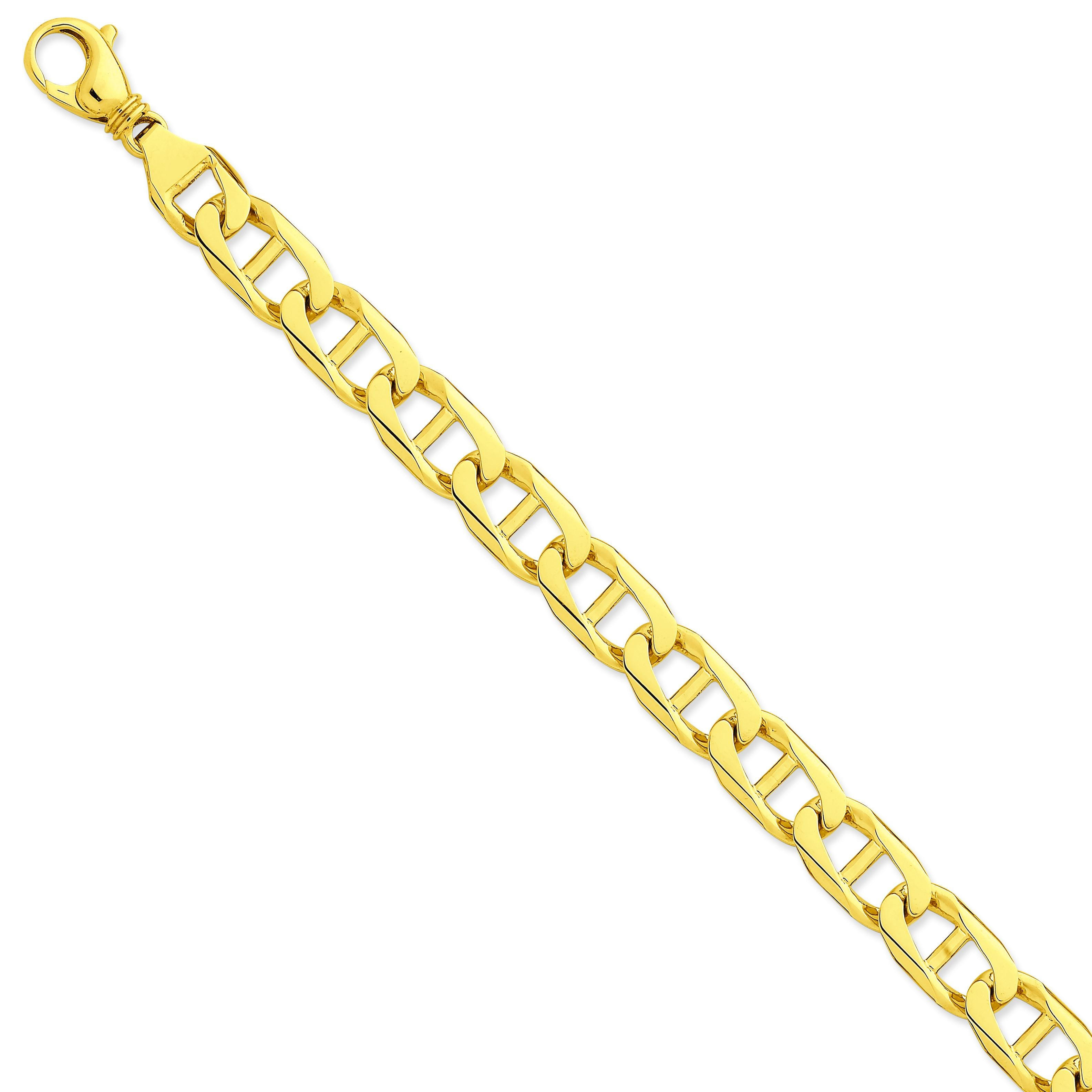 14k Yellow Gold 8 inch 11.00 mm Hand-polished Link Chain Bracelet