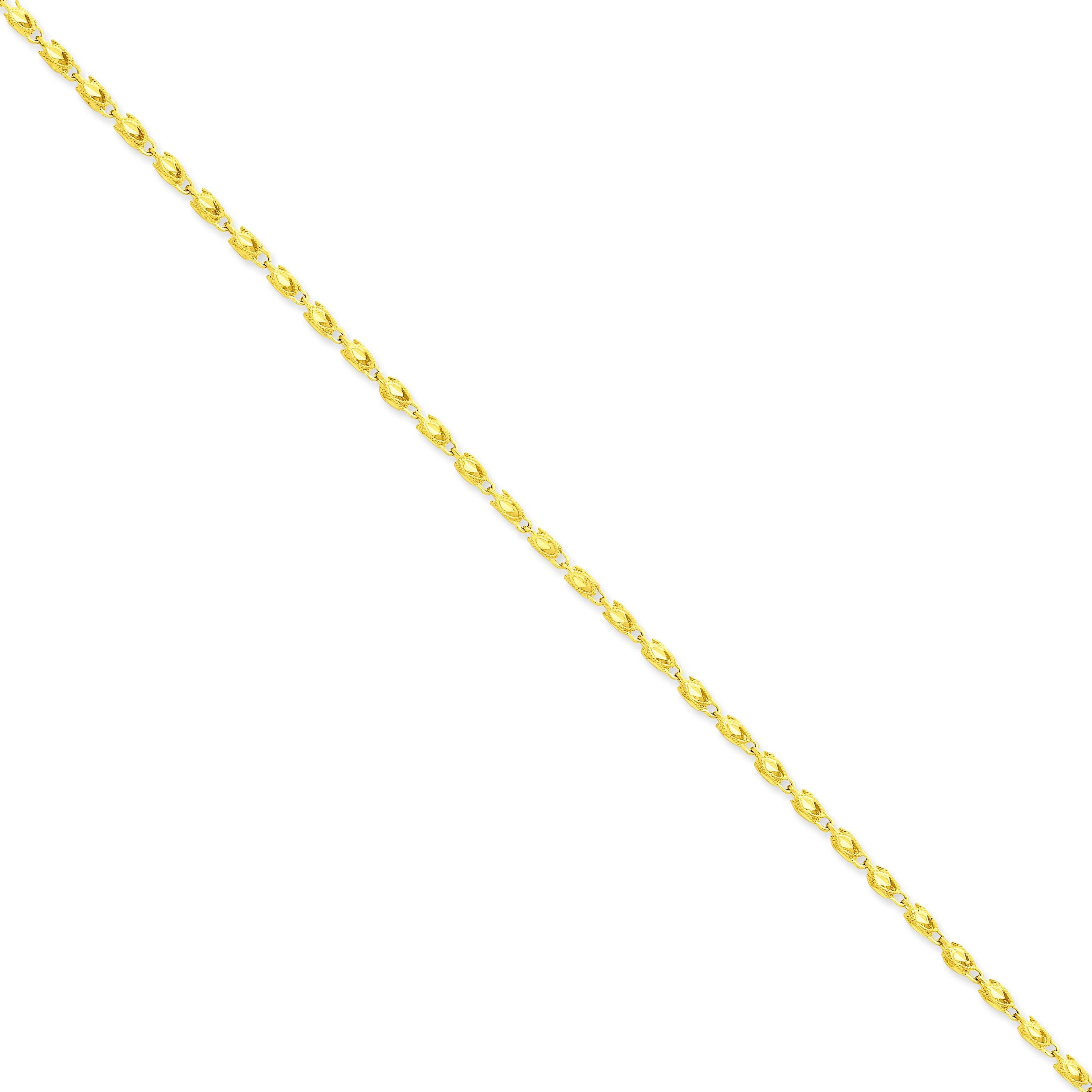 14k Yellow Gold 8 inch 2.50 mm Marquise Fancy Chain Bracelet