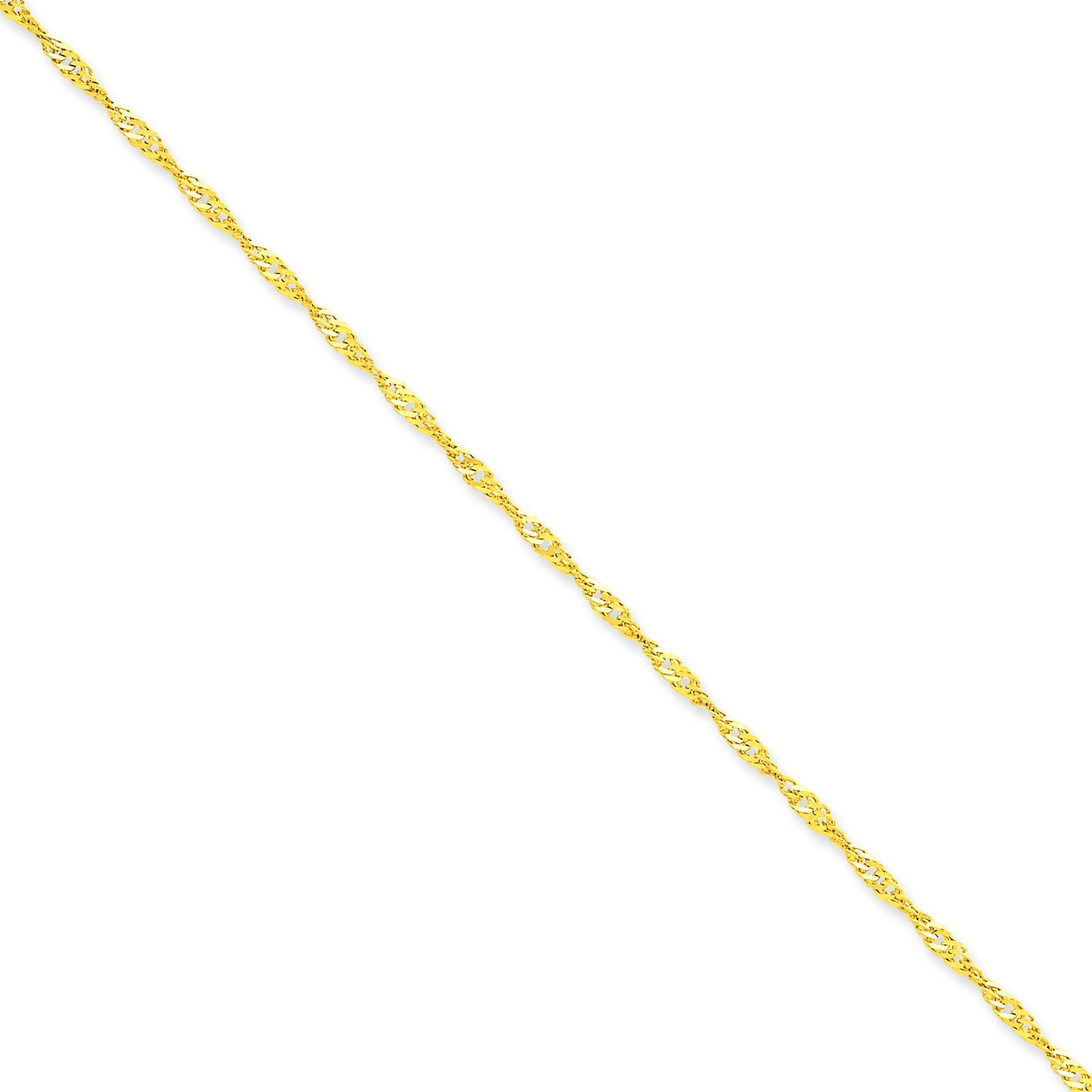 14k Yellow Gold 7 inch 2.00 mm  Singapore Chain Bracelet