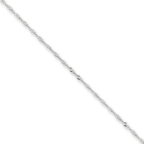 14k White Gold 14 inch 1.10 mm  Singapore Choker Necklace