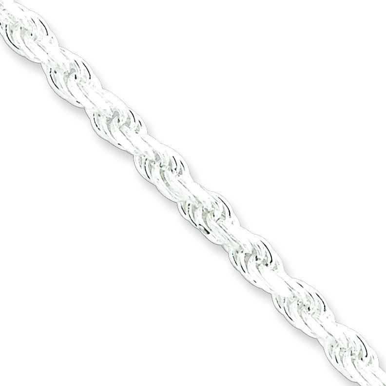 Sterling Silver 7 inch 3.50 mm Diamond-cut Rope Chain Bracelet