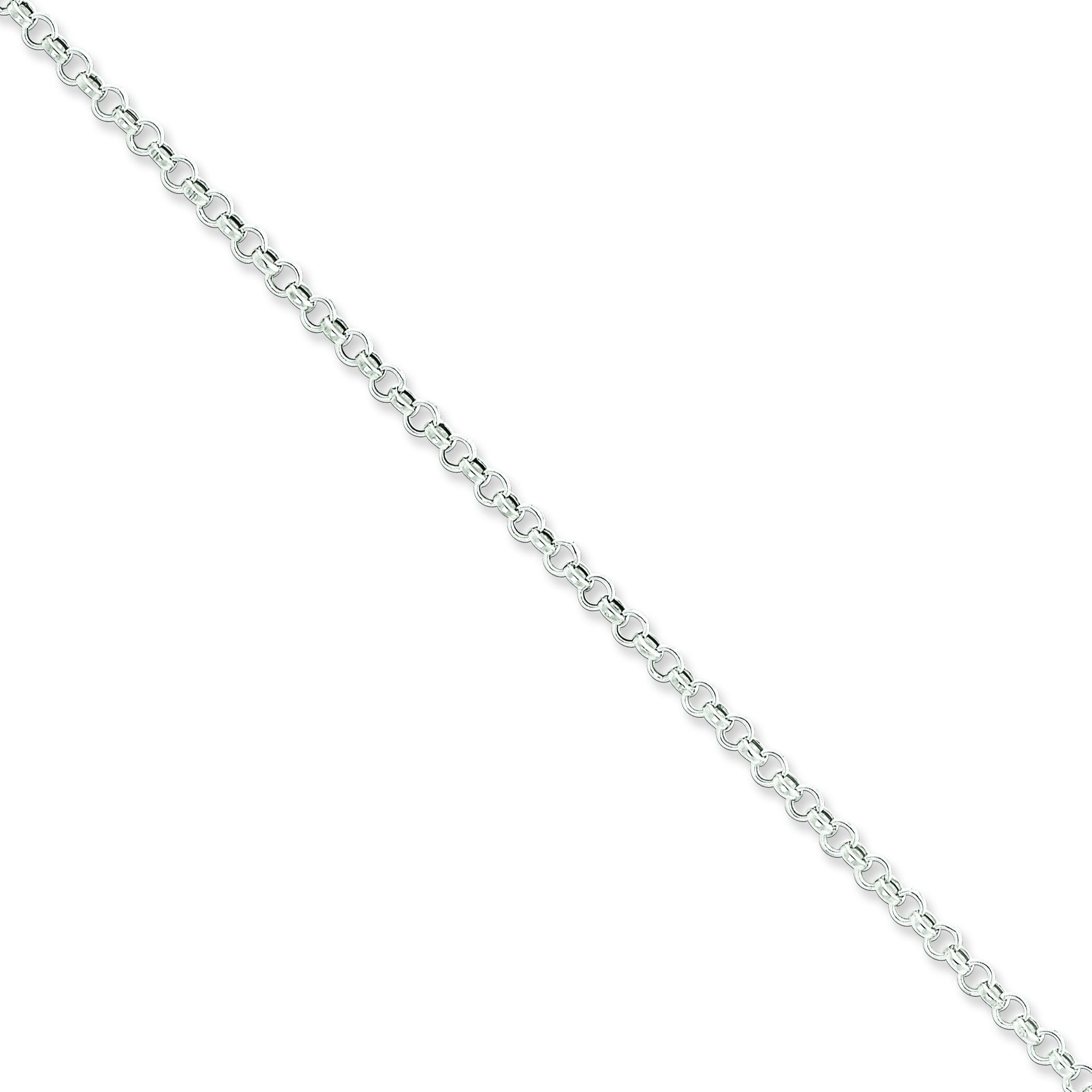 Sterling Silver 8 inch 3.00 mm  Rolo Chain Bracelet
